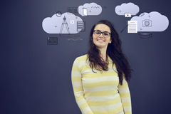 Cheerful young woman with background with drawn business chart, arrow and icons. Successful business concept Stock Images