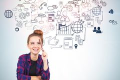 Cheerful young woman, business plan royalty free stock images