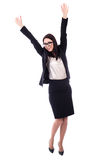 Cheerful young woman in business suit isolated on white Royalty Free Stock Photo