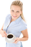 Cheerful young woman with coffee Royalty Free Stock Image
