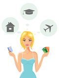 Cheerful Young Woman with Credit Cards. Vector illustration of cheerful young woman dreaming of house, education and travel while holding credit cards Stock Photo