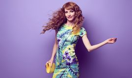 Cheerful Young woman dance, fashion Wavy Hairstyle stock images