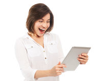 Cheerful young woman with an electronic tablet Stock Photos