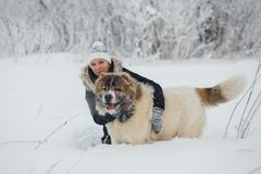 Cheerful young woman embracing with female caucasian shepherd dog on snow-covered field in frosty winter day.  royalty free stock photo