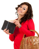 Cheerful young woman with euro in wallet Royalty Free Stock Photo