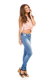 Cheerful Young Woman Full Length Royalty Free Stock Photography