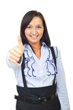 Cheerful young woman giving thumbs Royalty Free Stock Image