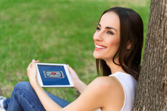 Cheerful young woman got message Royalty Free Stock Photos