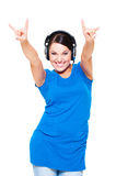 Cheerful young woman in headphones Stock Image