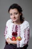 Ukrainian girl with apples Royalty Free Stock Photos