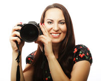 Cheerful young woman making photo Royalty Free Stock Images