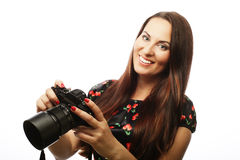 Cheerful young woman making photo Stock Image