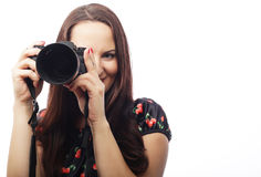 Cheerful young woman making photo Stock Images