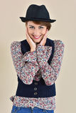 Cheerful young woman model with trendy clothes Royalty Free Stock Photography