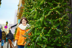 Cheerful young woman in Paris on a winter day Stock Image
