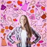 Cheerful woman with drawn female stuff Stock Photography
