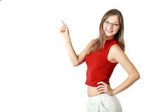 Cheerful young woman pointing Stock Images