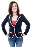 Cheerful young woman posing confidently Royalty Free Stock Images
