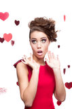Cheerful young woman in red dress Stock Photo