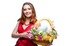 Cheerful easter woman Royalty Free Stock Images
