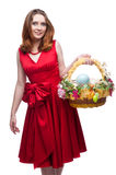 Cheerful easter woman Royalty Free Stock Image