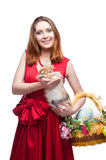 Cheerful easter  woman  with rabbit Stock Image