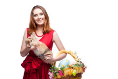 Cheerful easter  woman  with rabbit Royalty Free Stock Photo
