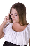 Cheerful young woman smiling on the phone Stock Photography
