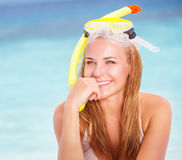 Cheerful young woman snorkeling Royalty Free Stock Images