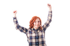 Cheerful young woman standing with raised hands up Stock Images