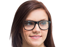 Cheerful young woman wearing glasses posing Royalty Free Stock Photos