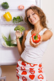 Cheerful Young Woman With Fresh Vegetables Royalty Free Stock Photos