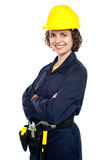 Cheerful young worker in jumpsuit Stock Photography