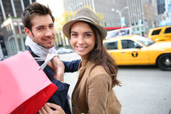 Cheerful youpl shopping in new york Stock Images