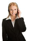Cheerfull call center operator Stock Photography