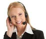 Cheerfull call center operator. Isolated on white Royalty Free Stock Photography