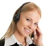 Cheerfull call center operator Stock Photo