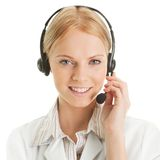 Cheerfull call center operator. Isolated on white Stock Images