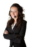 Cheerfull call center operator. Isolated on white Royalty Free Stock Photo