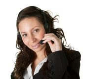 Cheerfull call center operator. Isolated on white Royalty Free Stock Images