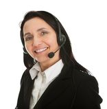 Cheerfull call center operator. Isolated on white Stock Photos