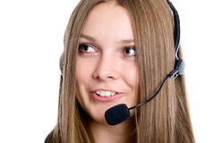 Cheerfull call center operator. Isolated on white Stock Photography