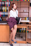 Cheerfull girl in the office. Accountant in office with shelves and folders Stock Photography