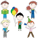 Cheerfull kids make happy birthday wishes Stock Images