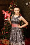 Cheerfull young lady, christmas theme Royalty Free Stock Photography