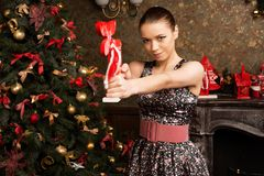 Cheerfull young lady, christmas theme Stock Images