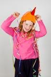 cheerfullkonfettiar dekorerade flickabarn Royaltyfria Bilder