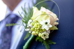 Corsage from man groom suit on wedding day. Royalty Free Stock Photo