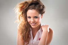 Cheerfuyoung teenage girl Stock Images
