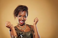 Cheering african woman Royalty Free Stock Photography